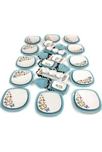 Keramika Kelebek 44 Parça 12 Kişilik Kahvaltı Takımı Turkuaz