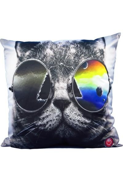 Gözlüklü Kedi Led Işıklı Yastık