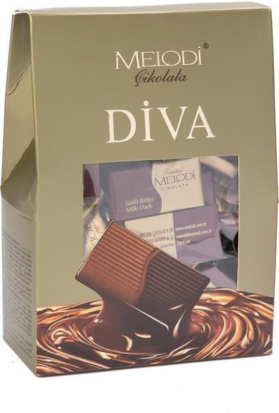 Melodi Çikolata Piramit Kutu Diva - Sütlü Bitter Çikolata 400 gr