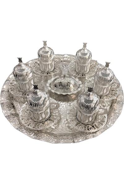 Lale Motifli Gümüş Yuvarlak 6 Li Kahve Fincan Takımı Yeni Model