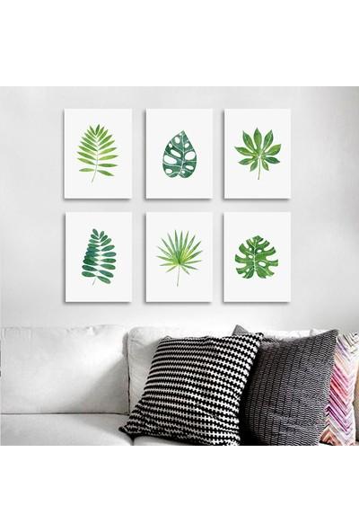 Vetro Design Tropikal Yapraklar 6 adet 13 x 18 cm Mdf Tablo