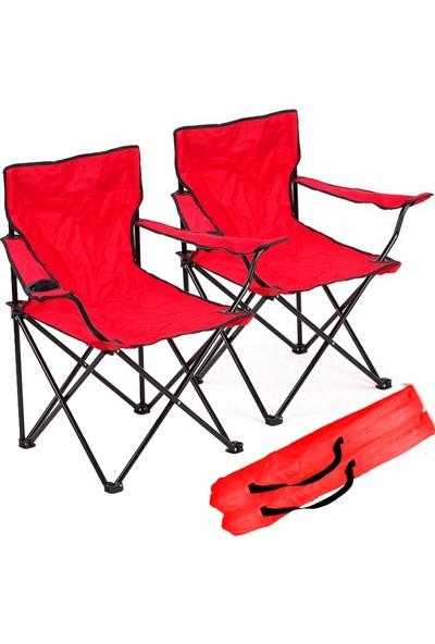 Granit Venedik Katlanır Kamp Sandalyesi 2 Adet Kırmızı Y521
