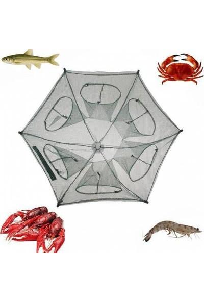 Balık Yengeç Tuzağı 6 Girişli Katlanır Balık Ağı Tuzak