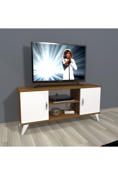 Decoraktiv Eko 120 Slm Retro Tv Ünitesi Tv Sehpası Ceviz Beyaz