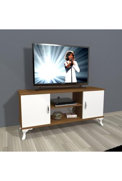Decoraktiv Eko 120 Slm Rustik Tv Ünitesi Tv Sehpası Ceviz Beyaz