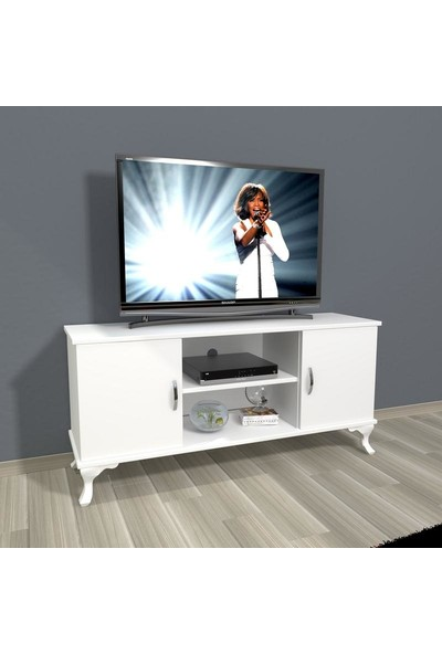Decoraktiv Eko 120 Slm Rustik Tv Ünitesi Tv Sehpası Parlak Beyaz