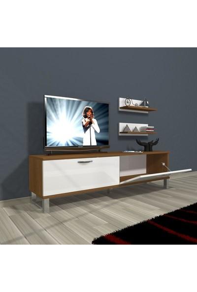 Decoraktiv Eko 150 Mdf Dvd Krom Ayaklı Tv Ünitesi Tv Sehpası Parlak Beyaz