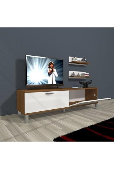 Decoraktiv Eko 150 Mdf Std Krom Ayaklı Tv Ünitesi Tv Sehpası Ceviz Beyaz