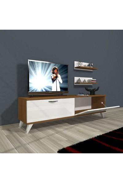 Decoraktiv Eko 150 Mdf Std Retro Tv Ünitesi Tv Sehpası Beyaz Ceviz
