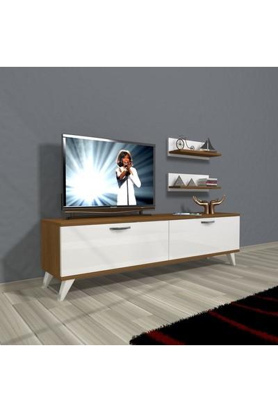 Decoraktiv Eko 150 Slm Std Retro Tv Ünitesi Tv Sehpası Ceviz Beyaz