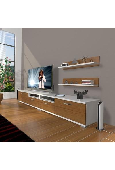Decoraktiv Eko 220R Mdf Tv Ünitesi Tv Sehpası Beyaz Ceviz