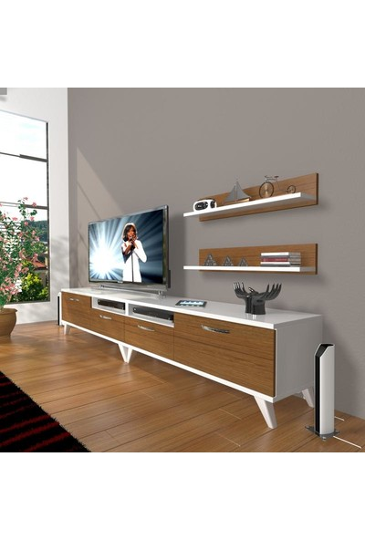 Decoraktiv Eko 220R Slm Retro Tv Ünitesi Tv Sehpası Beyaz Ceviz