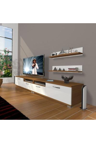 Decoraktiv Eko 220R Slm Tv Ünitesi Tv Sehpası Ceviz Beyaz