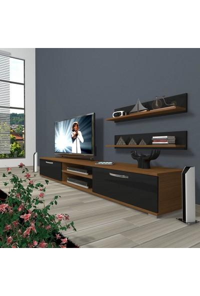 Decoraktiv Eko 4 Mdf Dvd Tv Ünitesi Tv Sehpası Ceviz Siyah