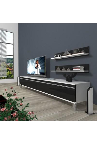 Decoraktiv Eko 4 Mdf Std Krom Ayaklı Tv Ünitesi Tv Sehpası Beyaz Siyah