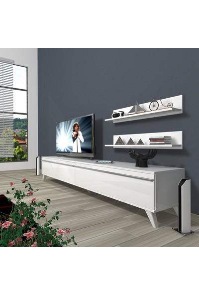 Decoraktiv Eko 4 Mdf Std Retro Tv Ünitesi Tv Sehpası Parlak Beyaz