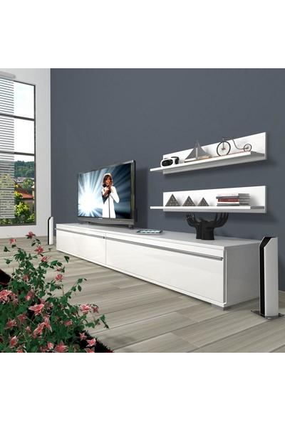 Decoraktiv Eko 4 Mdf Std Tv Ünitesi Tv Sehpası Parlak Beyaz