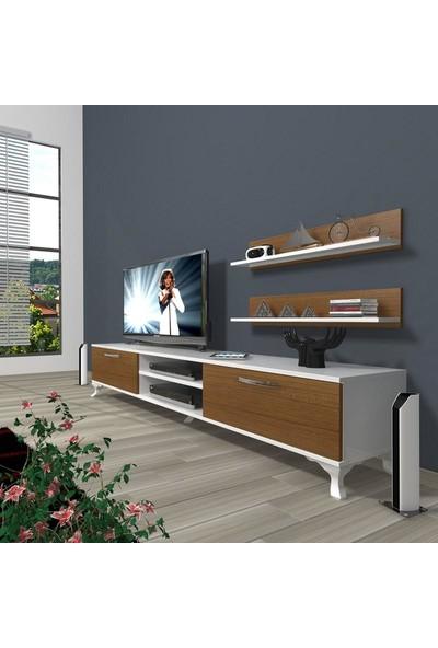 Decoraktiv Eko 4 Slm Dvd Rustik Tv Ünitesi Tv Sehpası Beyaz Ceviz