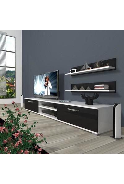 Decoraktiv Eko 4 Slm Dvd Tv Ünitesi Tv Sehpası Beyaz Siyah