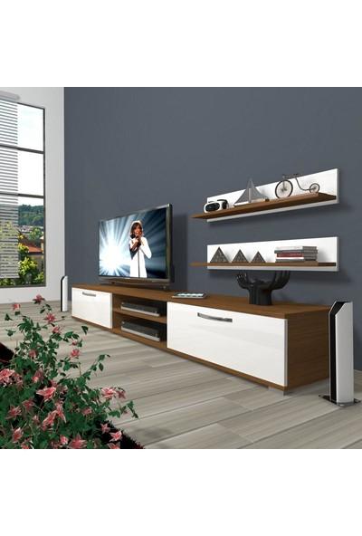Decoraktiv Eko 4 Slm Dvd Tv Ünitesi Tv Sehpası Ceviz Beyaz