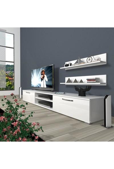 Decoraktiv Eko 4 Slm Dvd Tv Ünitesi Tv Sehpası Parlak Beyaz