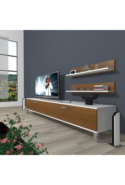 Decoraktiv Eko 4 Slm Std Krom Ayaklı Tv Ünitesi Tv Sehpası Beyaz Ceviz