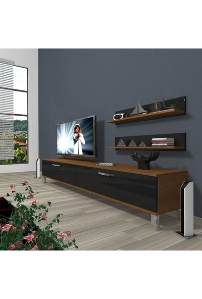 Decoraktiv Eko 4 Slm Std Krom Ayaklı Tv Ünitesi Tv Sehpası Ceviz Siyah