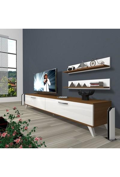 Decoraktiv Eko 4 Slm Std Retro Tv Ünitesi Tv Sehpası Ceviz Beyaz