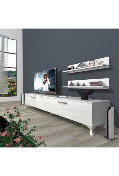 Decoraktiv Eko 4 Slm Std Rustik Tv Ünitesi Tv Sehpası Parlak Beyaz