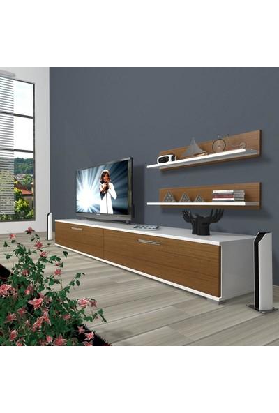 Decoraktiv Eko 4 Slm Std Tv Ünitesi Tv Sehpası Beyaz Ceviz