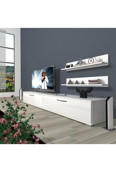 Decoraktiv Eko 4 Slm Std Tv Ünitesi Tv Sehpası Parlak Beyaz
