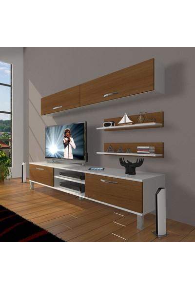 Decoraktiv Eko 5 Mdf Dvd Krom Ayaklı Tv Ünitesi Tv Sehpası Beyaz Ceviz