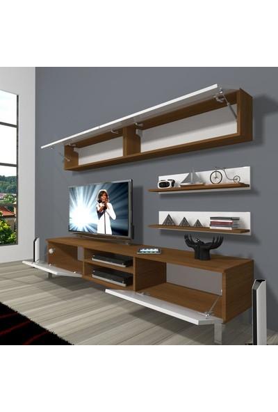Decoraktiv Eko 5 Mdf Dvd Krom Ayaklı Tv Ünitesi Tv Sehpası Ceviz Siyah