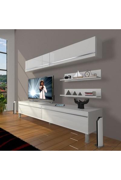 Decoraktiv Eko 5 Mdf Std Krom Ayaklı Tv Ünitesi Tv Sehpası Parlak Beyaz