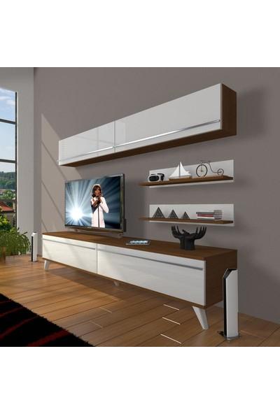 Decoraktiv Eko 5 Mdf Std Retro Tv Ünitesi Tv Sehpası Ceviz Beyaz