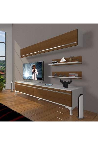 Decoraktiv Eko 5 Mdf Std Rustik Tv Ünitesi Tv Sehpası Beyaz Ceviz