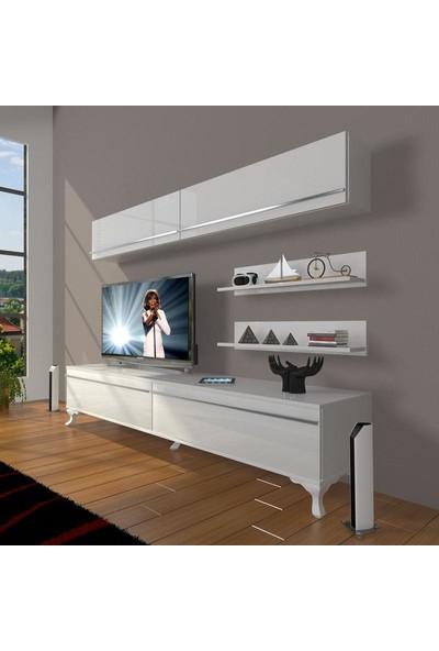Decoraktiv Eko 5 Mdf Std Rustik Tv Ünitesi Tv Sehpası Parlak Beyaz