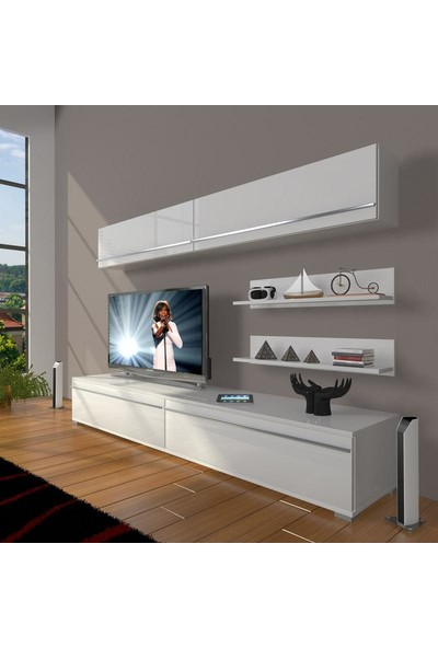Decoraktiv Eko 5 Mdf Std Tv Ünitesi Tv Sehpası Parlak Beyaz