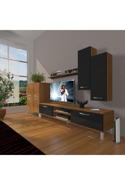 Decoraktiv Eko 6 Mdf Dvd Krom Ayaklı Tv Ünitesi Tv Sehpası Ceviz Siyah