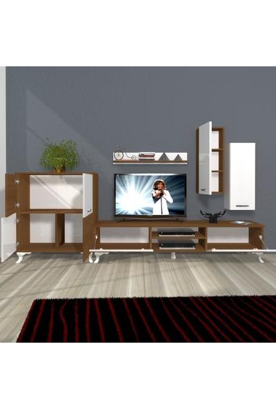 Decoraktiv Eko 6 Mdf Dvd Rustik Tv Ünitesi Tv Sehpası Beyaz Ceviz