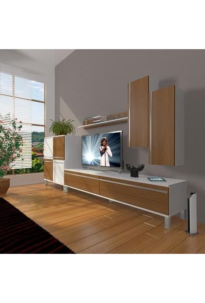 Decoraktiv Eko 6 Mdf Std Krom Ayaklı Tv Ünitesi Tv Sehpası Beyaz Ceviz