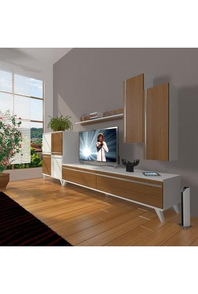 Decoraktiv Eko 6 Mdf Std Retro Tv Ünitesi Tv Sehpası Beyaz Ceviz