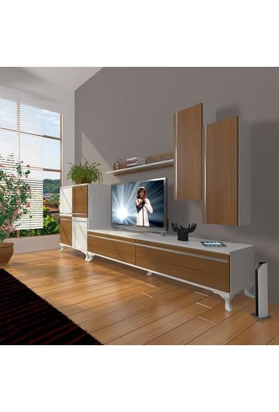 Decoraktiv Eko 6 Mdf Std Rustik Tv Ünitesi Tv Sehpası Beyaz Ceviz