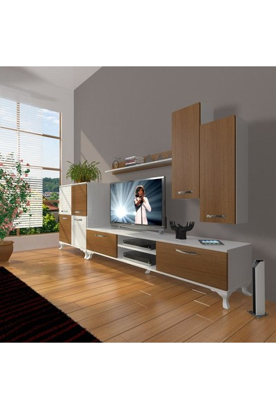 Decoraktiv Eko 6 Slm Dvd Rustik Tv Ünitesi Tv Sehpası Beyaz Ceviz