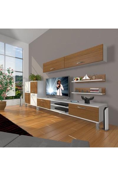 Decoraktiv Eko 6Y Mdf Dvd Krom Ayaklı Tv Ünitesi Tv Sehpası Beyaz Ceviz