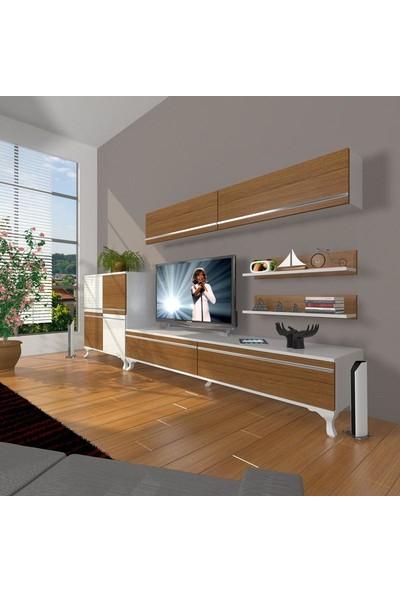 Decoraktiv Eko 6Y Mdf Std Rustik Tv Ünitesi Tv Sehpası Beyaz Ceviz