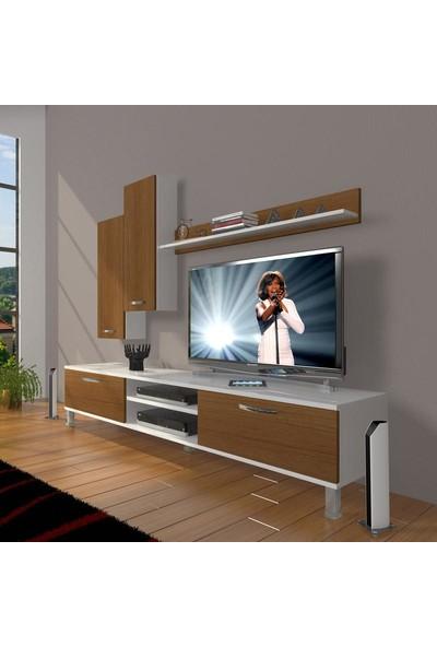 Decoraktiv Eko 7 Mdf Dvd Krom Ayaklı Tv Ünitesi Tv Sehpası Beyaz Ceviz