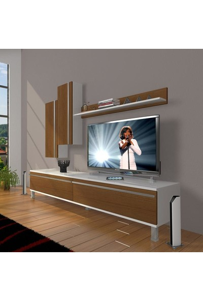 Decoraktiv Eko 7 Mdf Std Krom Ayaklı Tv Ünitesi Tv Sehpası Beyaz Ceviz