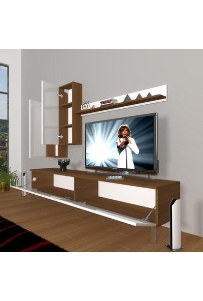 Decoraktiv Eko 7 Mdf Std Krom Ayaklı Tv Ünitesi Tv Sehpası Ceviz Beyaz