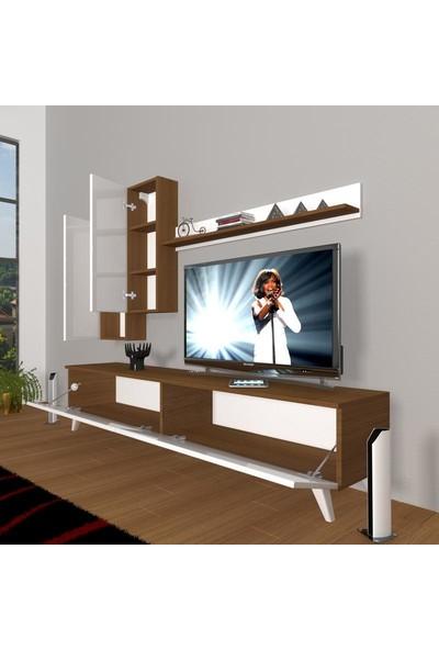 Decoraktiv Eko 7 Mdf Std Retro Tv Ünitesi Tv Sehpası Beyaz Ceviz